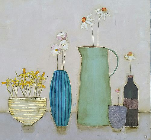 Eithne  Roberts - Daffodil bowl and other flowers