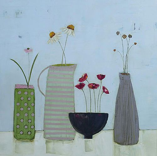 Eithne  Roberts - Daisies, dotty vase and red poppies