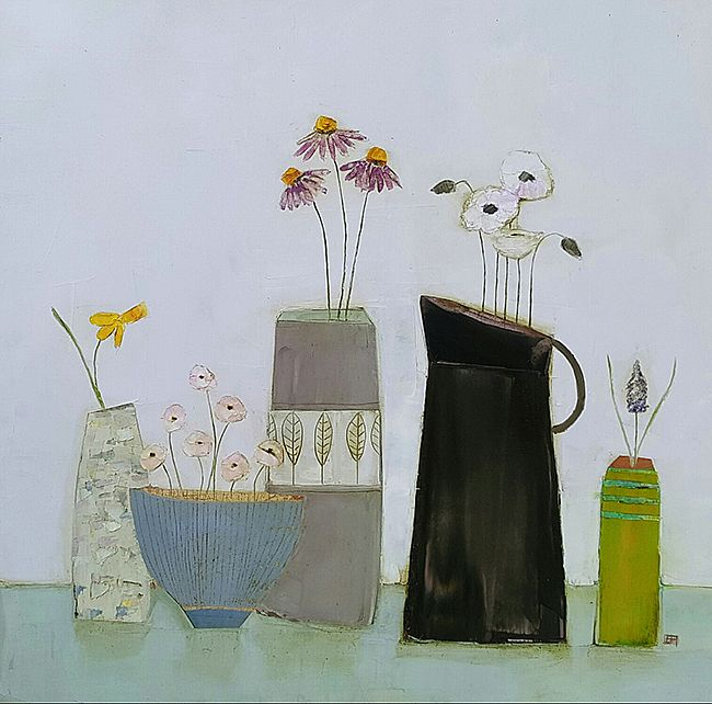 Eithne  Roberts - Dark jug, little green vase