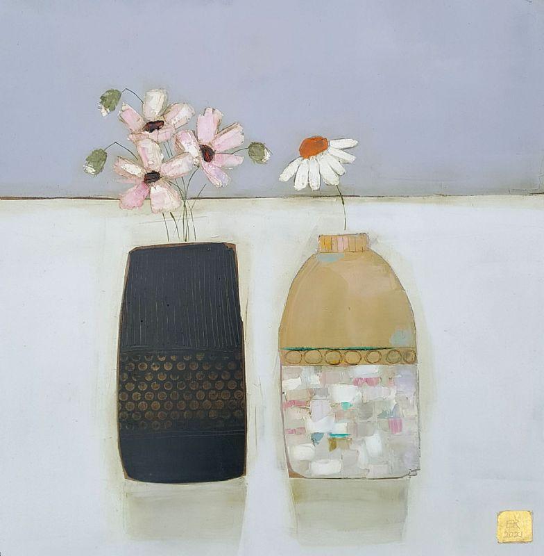 Dark dotty jar and small vase