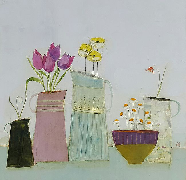 Eithne  Roberts - Four jugs and daisy bowl