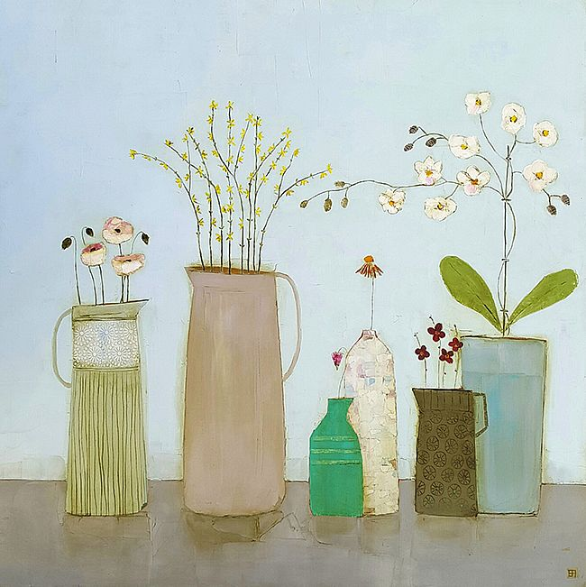 Eithne  Roberts - Four jugs, bottle and orchid pot