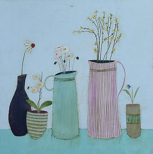 Eithne  Roberts - Fushia, Daisies and other blooms