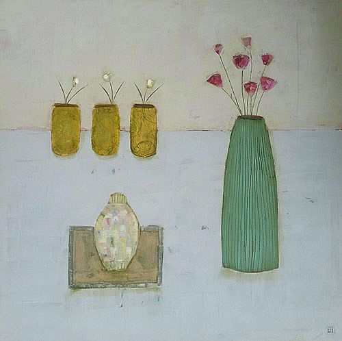 Eithne  Roberts - Ginger Jar and 3 Gold Pots