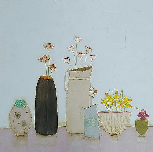 Eithne  Roberts - Gingerjar echinacea and daffodil bowl