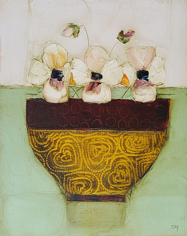 Eithne  Roberts - Golden bowl of pansies