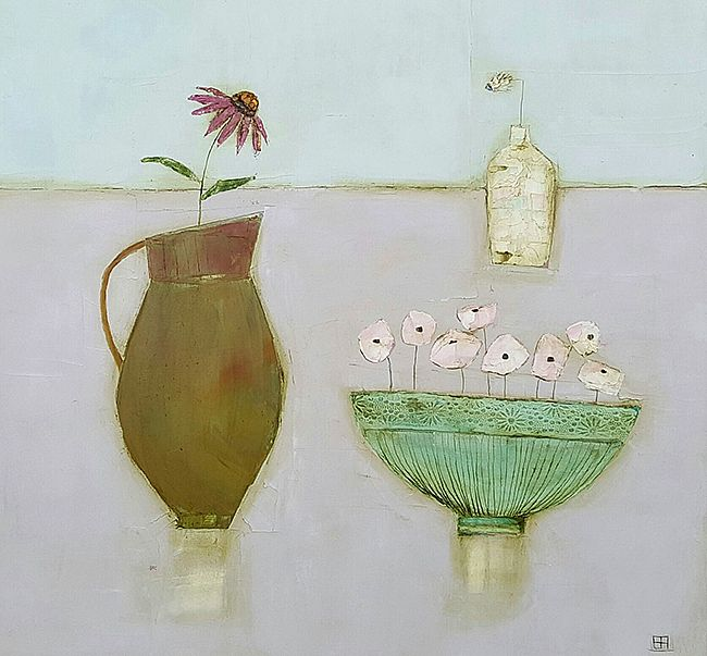Eithne  Roberts - Green bowl, large flower jug