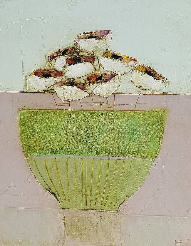 Eithne  Roberts - Green bowl white flowers