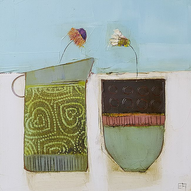Eithne  Roberts - Green jug and small dark vessel
