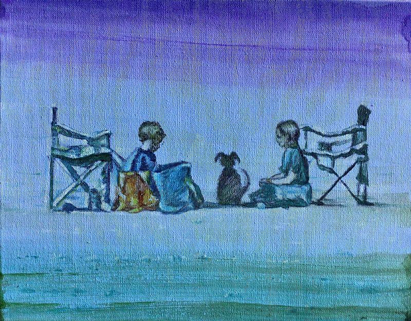 View Waiting for mum, Beach Picnic