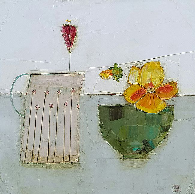 Eithne  Roberts - Jug and green pansy bowl
