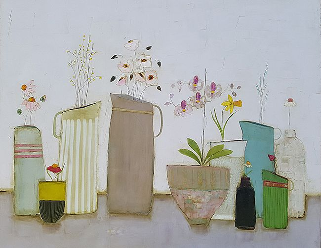 Eithne  Roberts - Jugs vases orchids and daisies