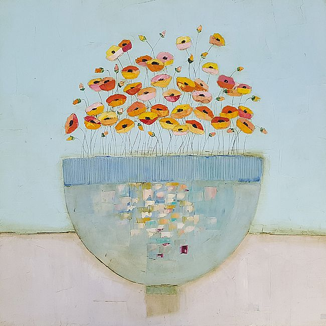 Eithne  Roberts - Large blue bowl of orange flowers