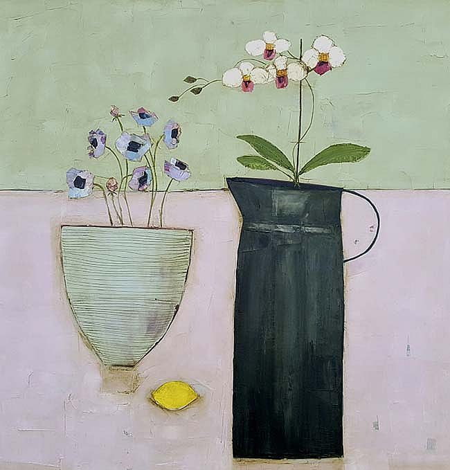 Eithne  Roberts - large orchid jug, anemones and lemon