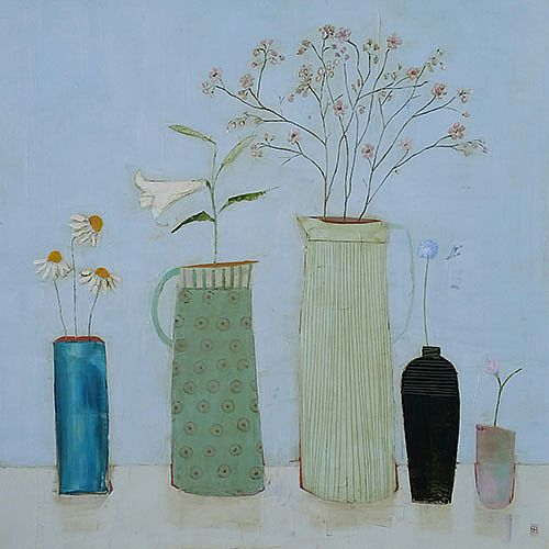 Eithne  Roberts - Lily jug and cherry blossom