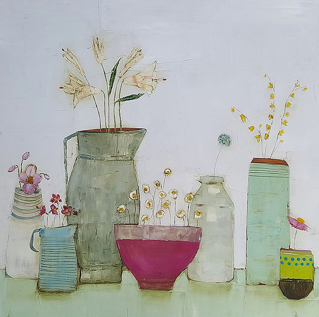 Eithne  Roberts - Lily jug and large pink bowl