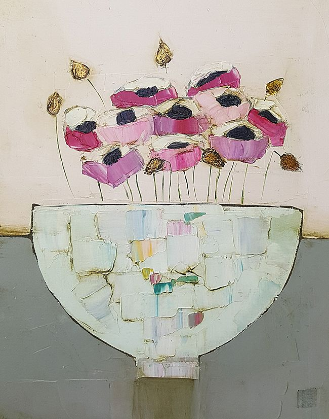 Eithne  Roberts - Little bowl of pinks on grey