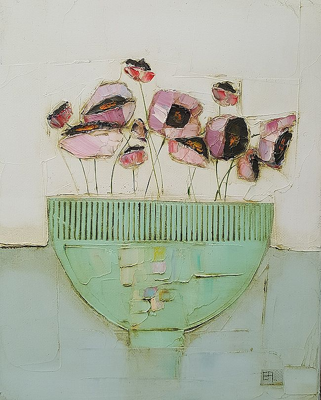 Eithne  Roberts - Little green bowl and pinks
