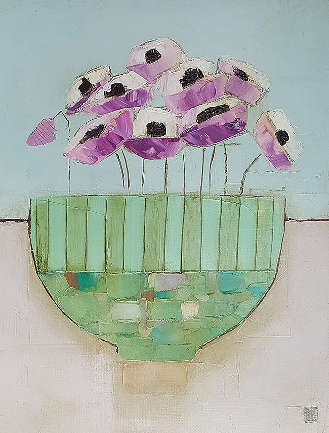 Eithne  Roberts - Little green bowl on pink