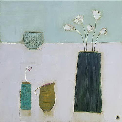 Eithne  Roberts - Little green jug and dark vase