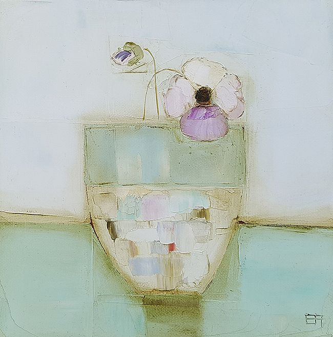 Eithne  Roberts - Little pansy in blue vessel