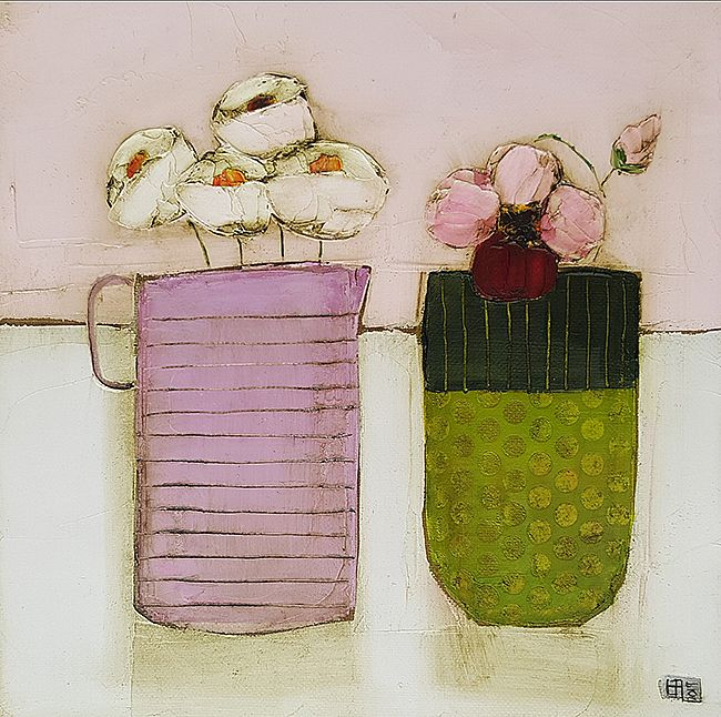 Eithne  Roberts - Little pink jug green dottie vase