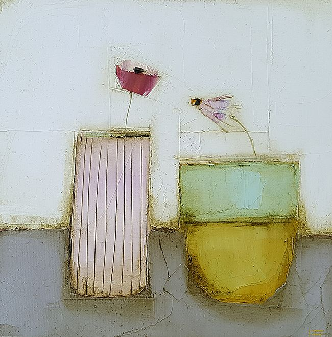 Eithne  Roberts - Little pink on grey with vessel