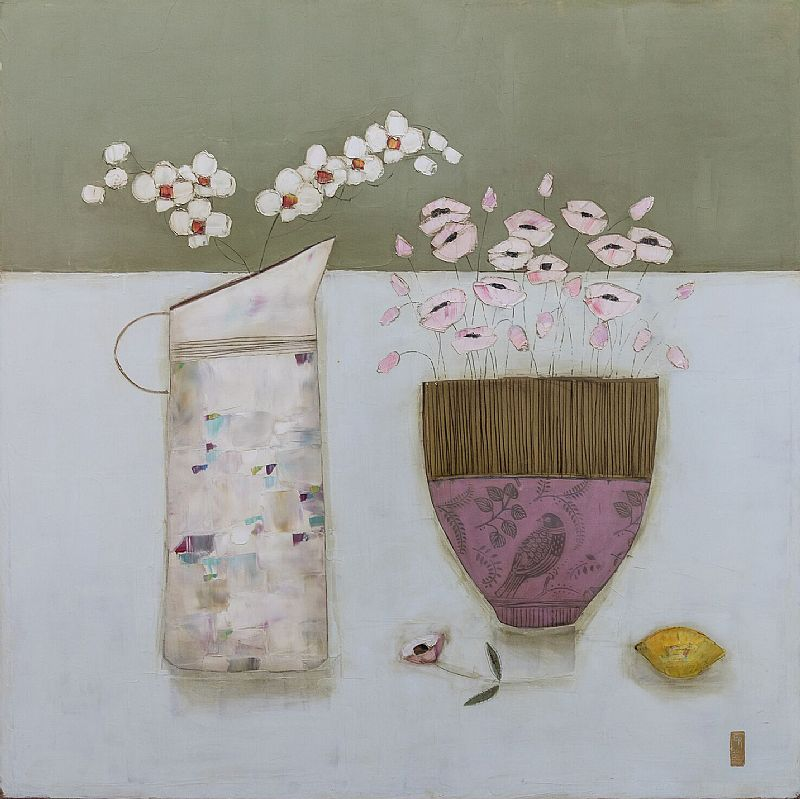 Eithne  Roberts - Little bird bowl and orchids