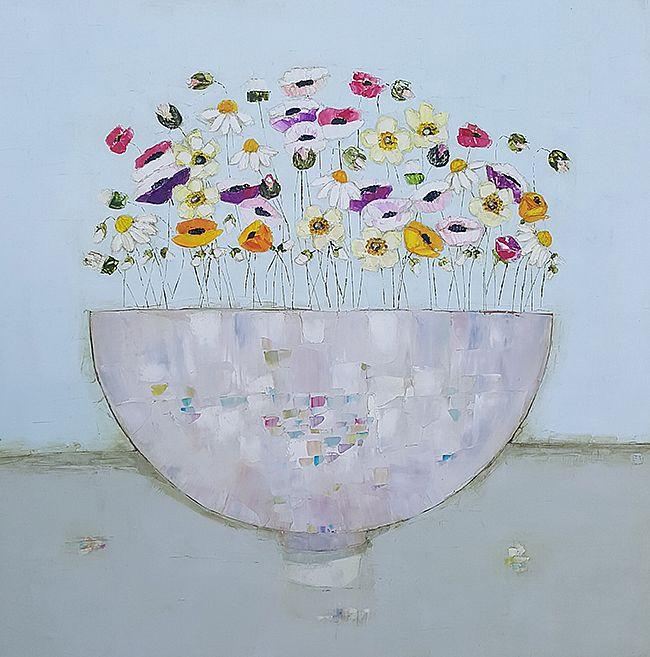 Eithne  Roberts - Mixed summer bowl on blue and grey