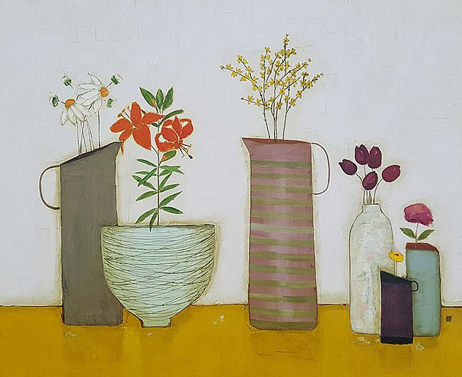 Eithne  Roberts - Mustard shelf and tiger lilies