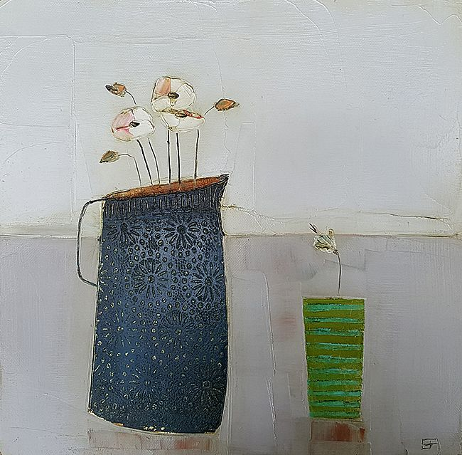 Eithne  Roberts - Navy jug and green stripes
