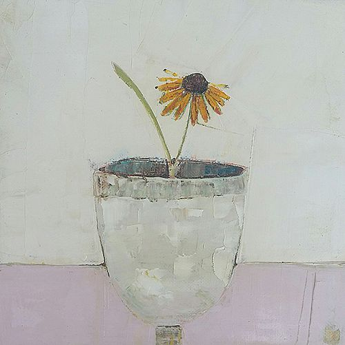 Eithne  Roberts - Orange flower on pink table