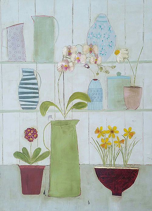 Eithne  Roberts - Orchid jug and daffodil bowl