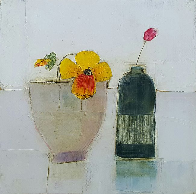 Eithne  Roberts - Pansy and small jar