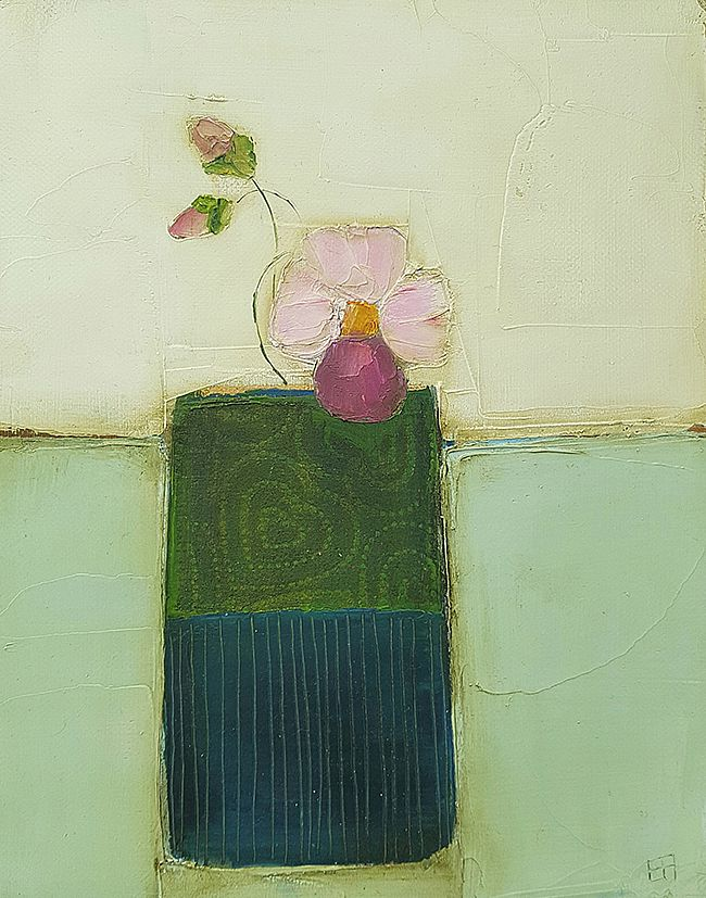 Eithne  Roberts - Pansy flower in green