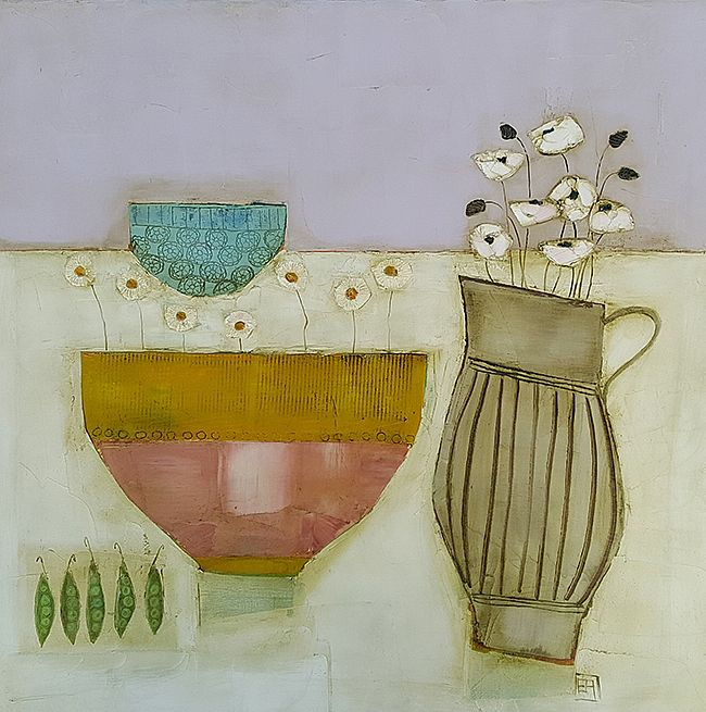 Eithne  Roberts - Peas poppies and daisy bowl