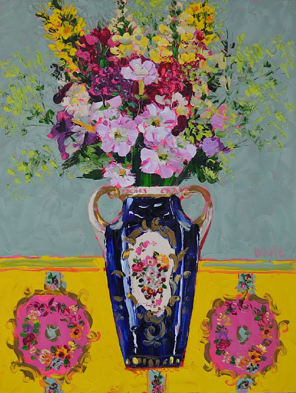 View Petunias in Blue Vase