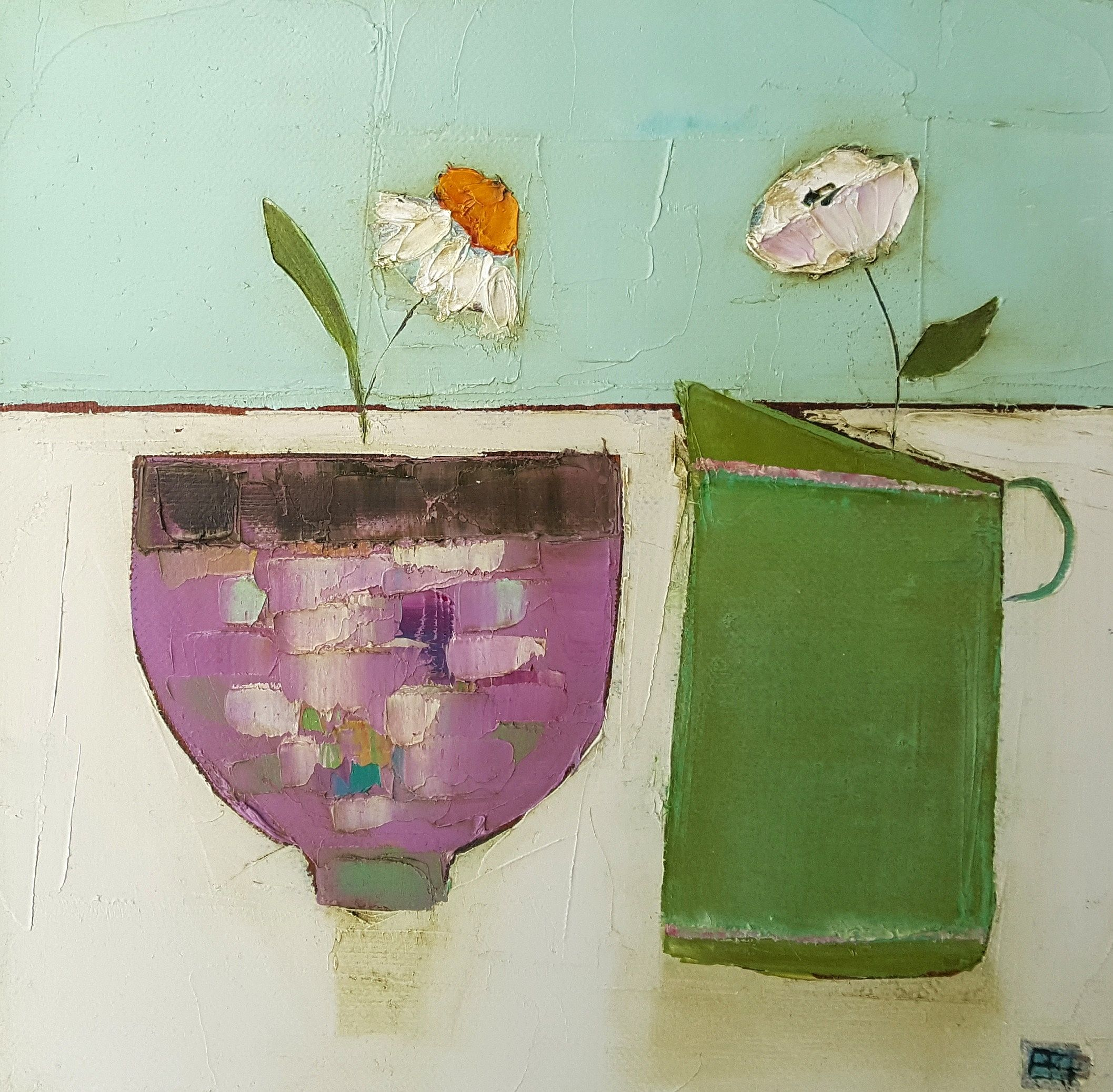 Eithne  Roberts - Pink bowl green jug