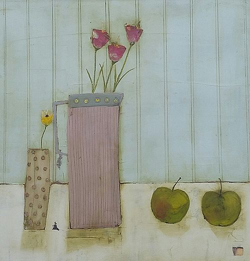 Eithne  Roberts - Pink Jug Two Apples