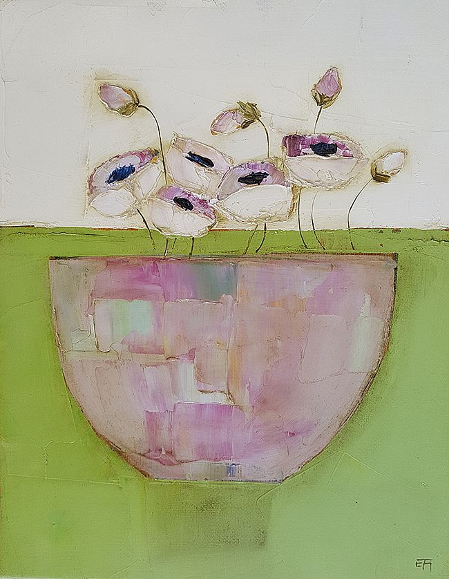 Eithne  Roberts - Pink on green