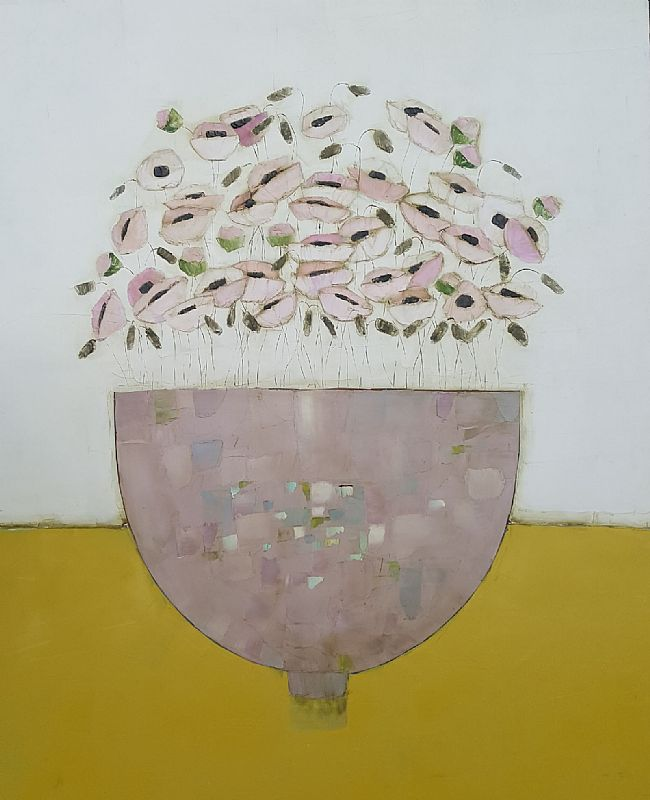 Eithne  Roberts - Pink Bowl on Mustard