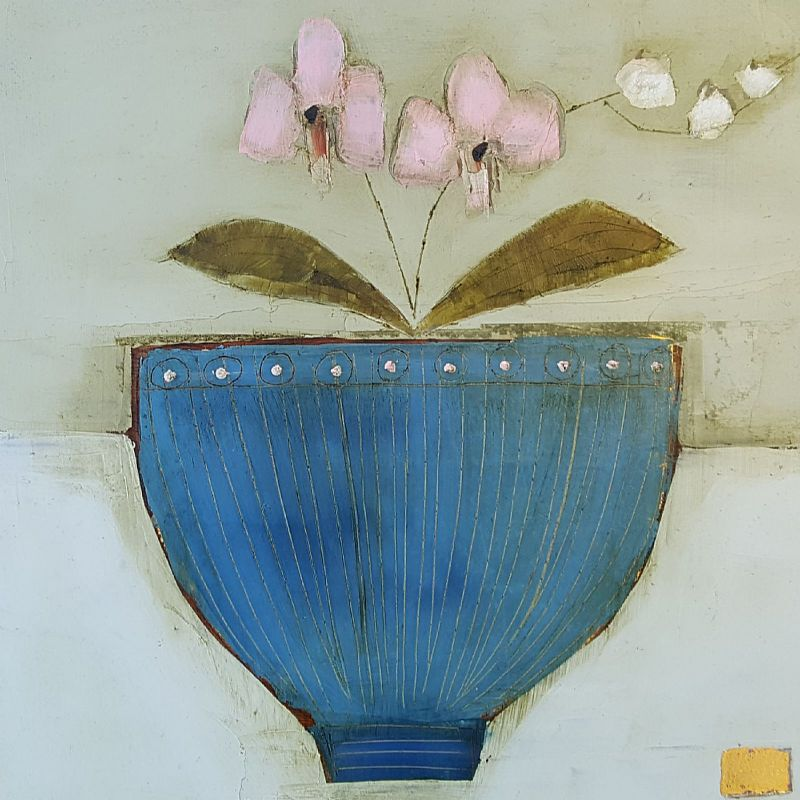 View Pink Orchid blue bowl