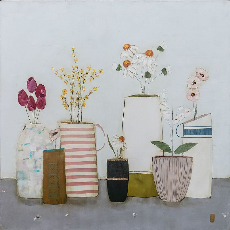Eithne  Roberts - Pink stripes and forsythia