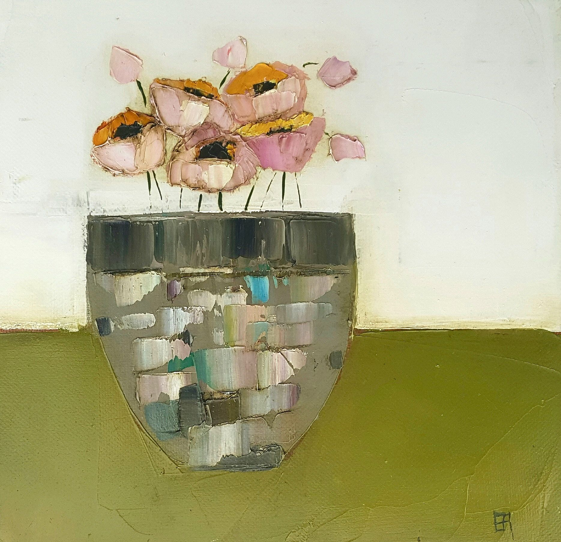 Eithne  Roberts - Pinks in grey on green
