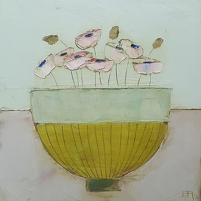 Eithne  Roberts - Pinks in stripey bowl