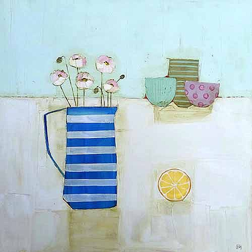 Eithne  Roberts - Pinks in stripey jug with orange