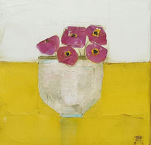 Eithne  Roberts - Pinks on yellow