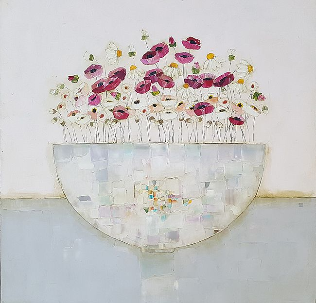 Eithne  Roberts - Poppies, daisies and mixed white bowl