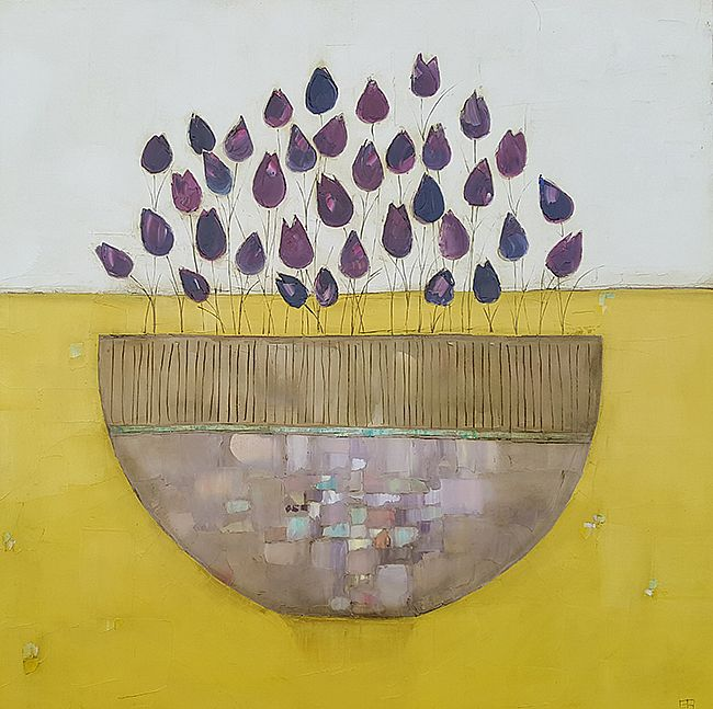 Eithne  Roberts - Purple bowl on yellow