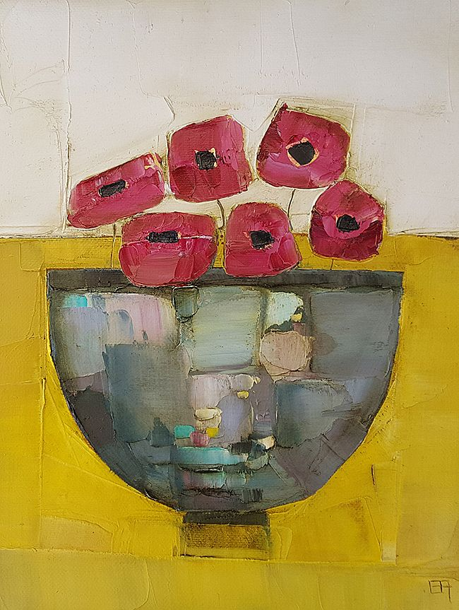 Eithne  Roberts - Purple on mustard with poppies